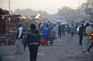 Early morning in Kitwe - Kitwe's main market getting ready for the day.