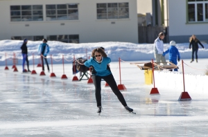 Speedskating on the world famous outdoor rink in Davos, Switzerland