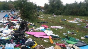 A Facebook picture - this is the mess a group of refugees in Hungary left behind, says the post.