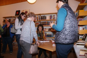 I'm signing books after the reading at the Schleitheim Library. picture from Andrea Wanner